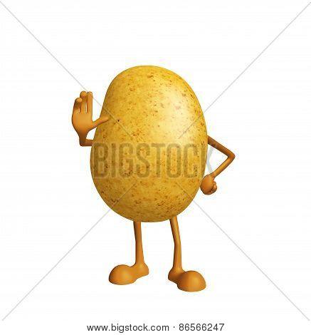 Potato Character With Saying Hi Pose