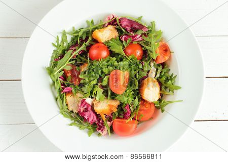 Plate with fresh spring salad