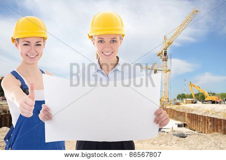 Business Women Architect And Builder In Yellow Helmet