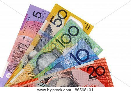 Australian Dollar Bills Isolated On White