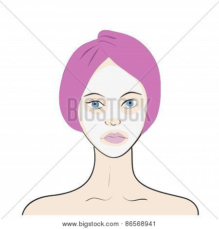 Stock vector illustration of a woman with facial mask
