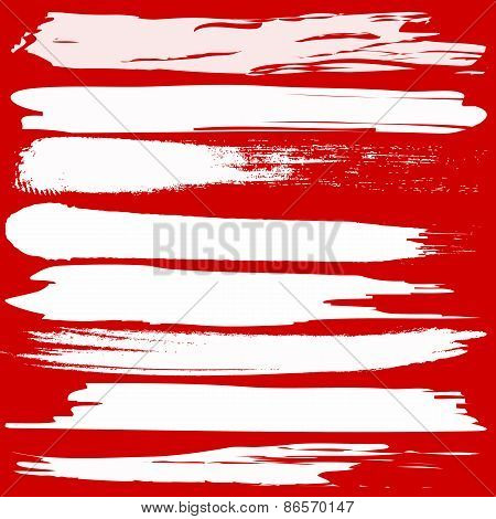 Vector Set Of Grunge Brush Strokes On Red Background