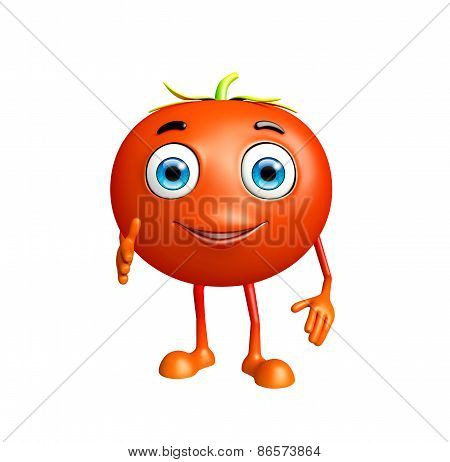 Tomato Character With Shakehand Pose