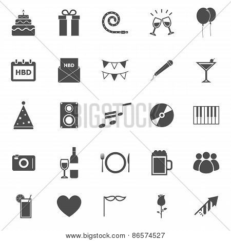 Birthday Icons On White Backgound