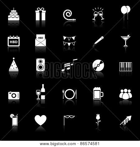 Birthday Icons With Reflect On Black Backgound