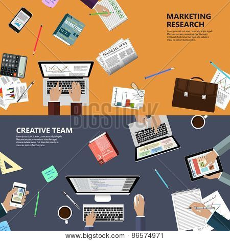 Modern flat design marketing research and creative team concept  for e-business, web sites, mobile applications, banners, corporate brochures, book covers, layouts etc. Vector eps10 illustration