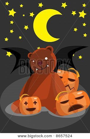 The bear bat and pumpkins