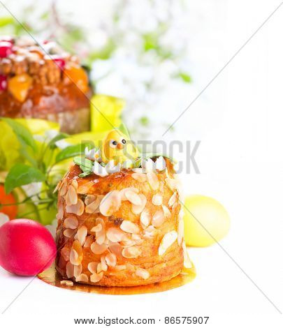 Easter Cake and colorful painted Eggs. Traditional Easter holiday food border design isolated on a white background.