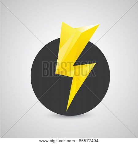 orange lightning bolt vector icon. Lightning logo