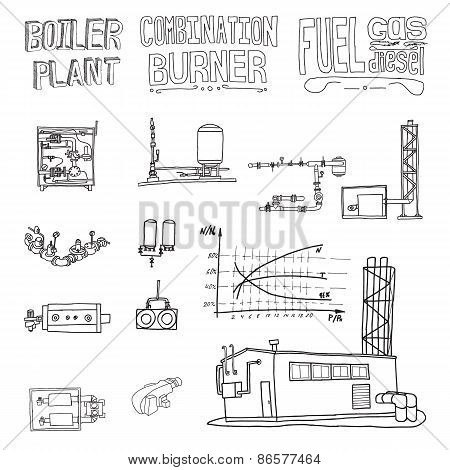 Boiler Room Equipment, Engineering Systems. Sketch. Vector File. Gas, Heat, Cold And Hot Water. Util