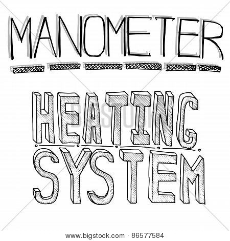 Sketch Words. Heating And Monometer. Vector File On White Background.