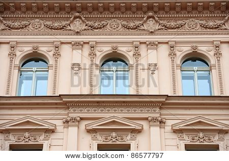 Facade Detail Of Historic House On Havlickova Street In Prague.