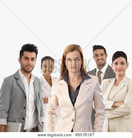 Team portrait of smiling young confident businesspeople.
