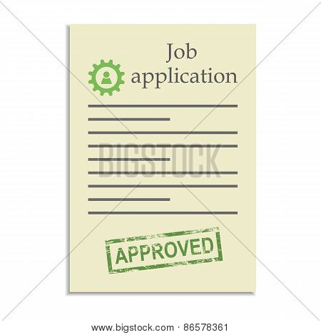 Job application with approved stamp