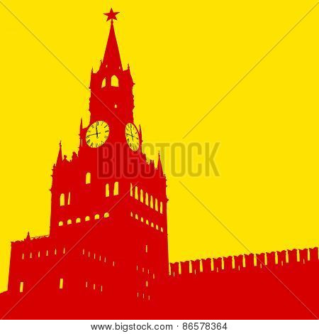 Moscow, Russia, Kremlin Spasskaya Tower With Clock, Silhouette,