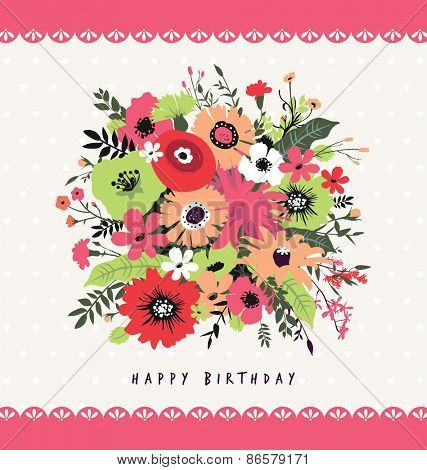 Happy Birthday. Greeting card with a beautiful bunch of flowers.