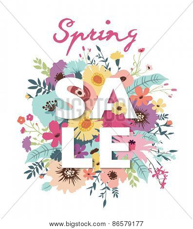 Spring sale poster with beautiful flourish background