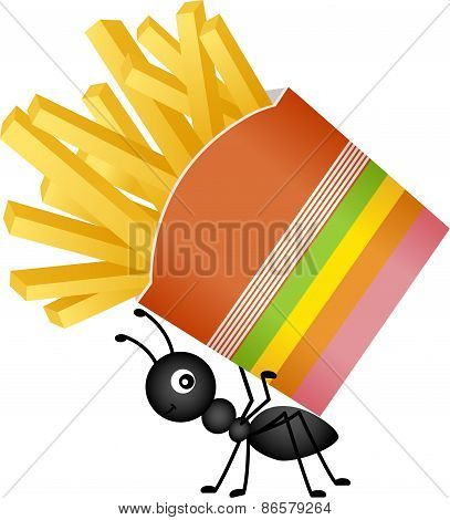 Ant carrying a french fries in stripes packaging