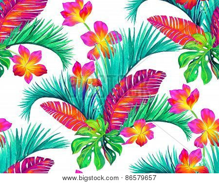 tropical flowers pattern,solated on white
