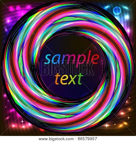 Frame With Abstract Bright Neon Circle For Text