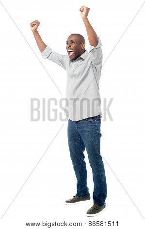 Happy Man Celebrating His Success