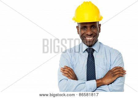 Construction Manager With Arms Folded