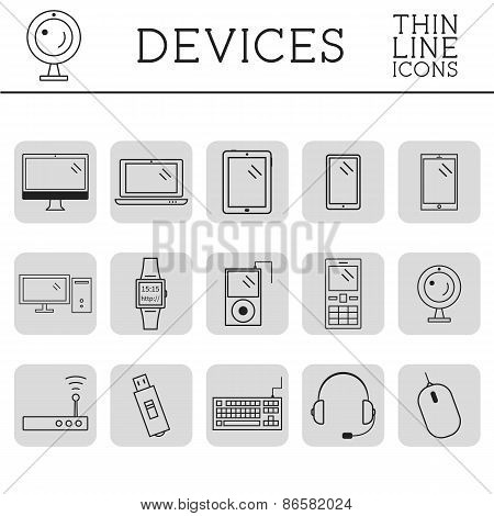 Trendy PC, computer, mobile gadgets and device line icons and buttons . Graphic vector symbols and e