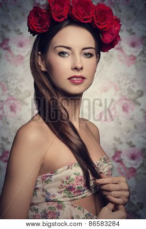 Brunette Woman With Roses On Head