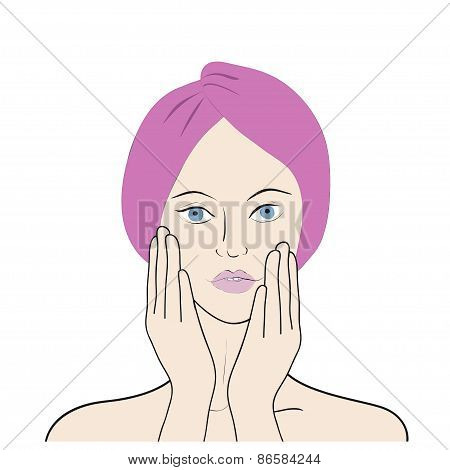 Vector illustration of a girl toching her face