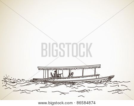 Sketch of boat taxi, Hand drawn illustration