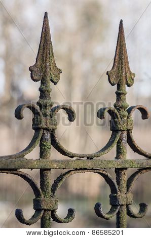 Old Decorative Rusted Wrought-iron Fence