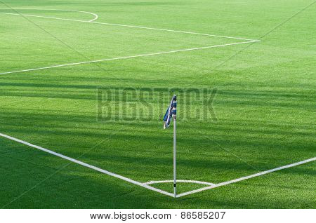 Corner Flag Marking Background In Soccer Field
