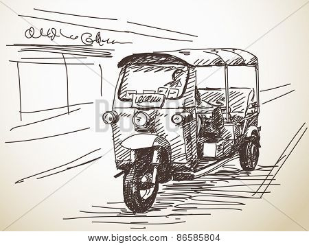 Hand drawn motorcycle rickshaw taxi Vector illustration