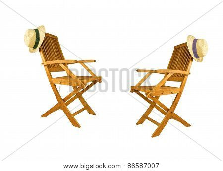 two folding Teak wood Deck Chairs with sun Hats