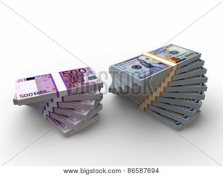 Dollars and euro Stacks