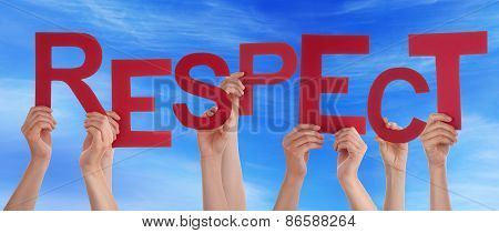 Many People Hands Holding Red Word Respect Blue Sky