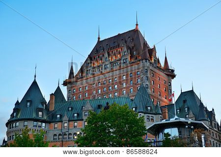 Chateau Frontenac at dusk in Quebec City