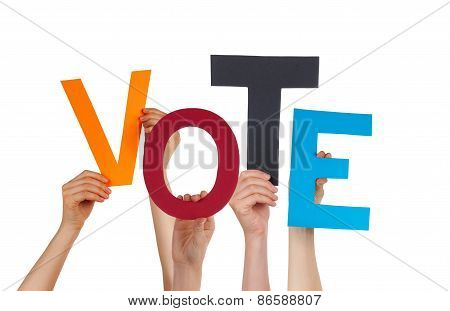 Many People Hands Holding Colorful Word Vote