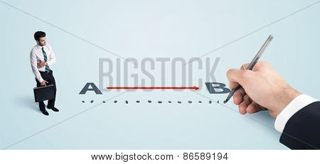 Businessman looking at red line from a to b drawn by hand concept on background