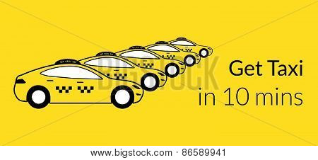 Taxi station of yellow hatchback cars