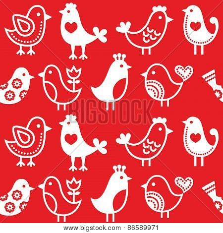 Folk, retro red background with birds - seamless pattern