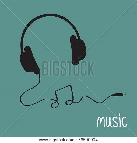 Black Headphones With Cord In Shape Of Note Music Background Card. Flat Design