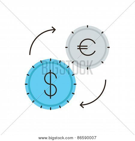 Currency Exchange Flat Line Icon Concept