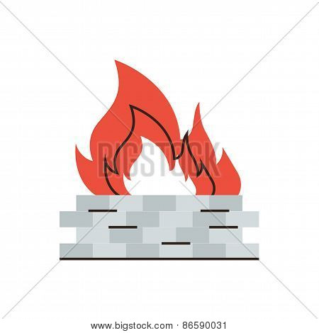Firewall Protection Flat Line Icon Concept