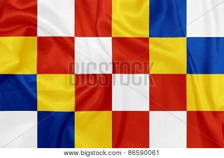 Antwerp - Waving national flag on silk texture