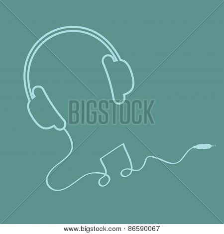 Headphones With Cord Background Music Card Outline Icon. Flat Design