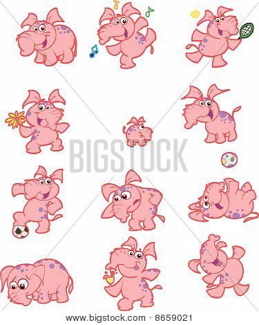 Cute pink elephant vector set
