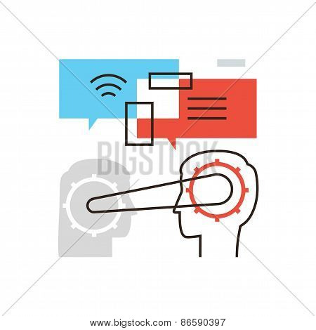 People Communication Flat Line Icon Concept