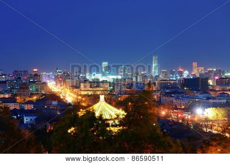 Beijing urban architecture and city skyline at night.