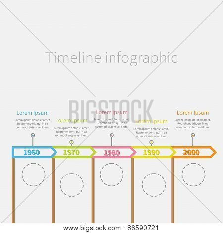 Arrow Flag On Sticks Horizontal Timeline Infographic With Dash Line Circles And Text. Template. Flat